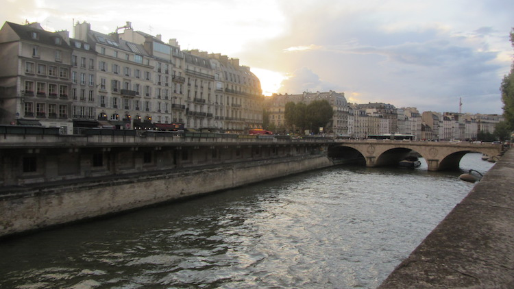 Sun setting over river Seine