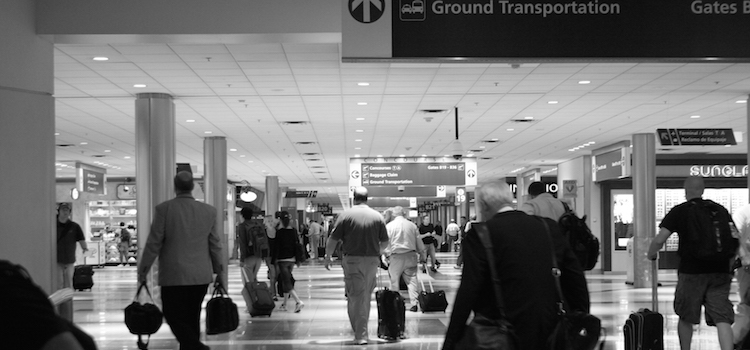 busy airport black and white