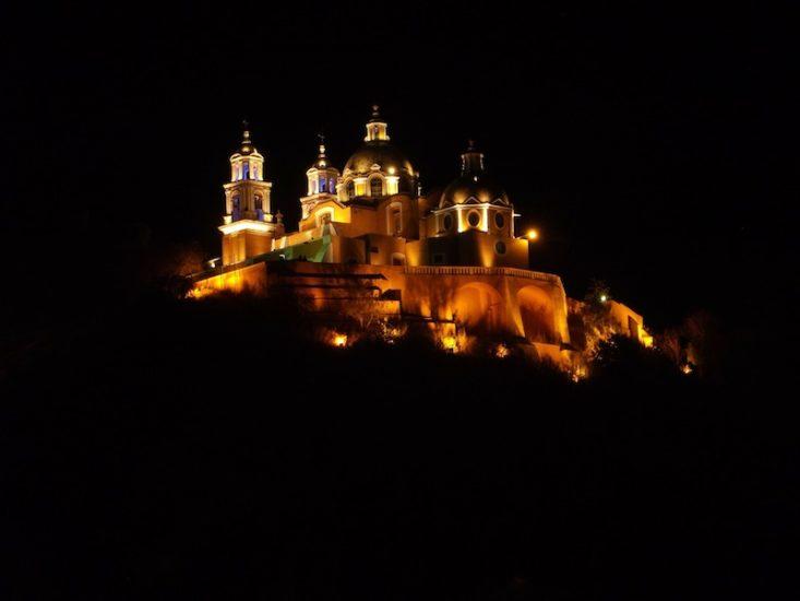 Cholula Cathedral at Night